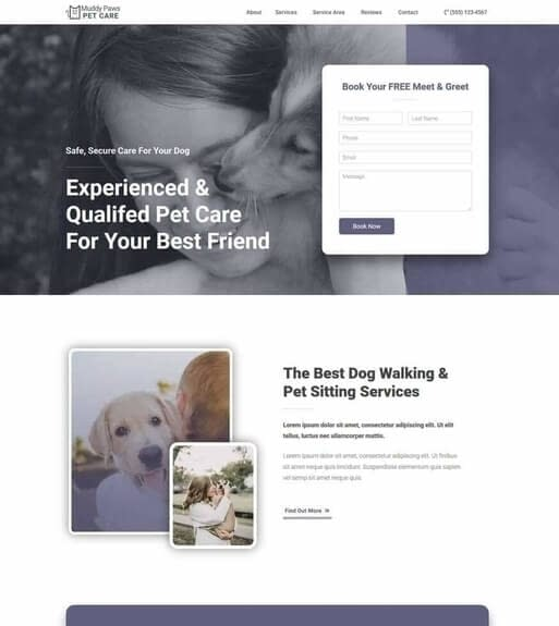 Free Pet Business Website Template