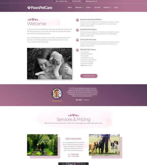 Pet Care Business Website Design