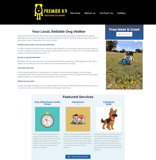 pet care business web design