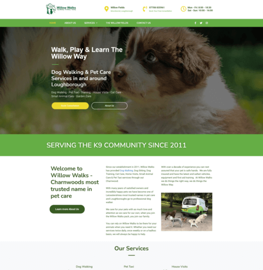 uk pet business web design